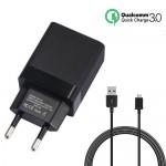 Αντάπτορας USB Ταχυφορτιστής 3A Κινητού με Καλώδιο Micro USB Andowl Quallcomm Quick Charge 3.0 - Fast Smart Charger