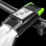 Αδιάβροχο Ταχύμετρο 5 σε 1 με Φώτα Πορείας 800Lm, Κόρνα 120db, Οπίσθιο Φωτισμό με Οθόνη LCD & Χρονόμετρο - Επαναφορτιζόμενος Φακός LED Πράσινο
