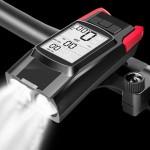 Αδιάβροχο Ταχύμετρο 5 σε 1 με Φώτα Πορείας 800Lm, Κόρνα 120db, Οπίσθιο Φωτισμό με Οθόνη LCD & Χρονόμετρο - Επαναφορτιζόμενος Φακός LED Κόκκινο