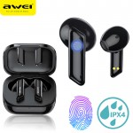 Αδιάβροχα Bluetooth Ακουστικά TWS HiFi Sound με Θήκη Φόρτισης Ασύρματα AWEI® T36 - Black