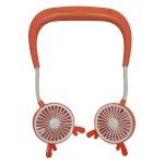 Ανεμιστήρας Λαιμού για το Πρόσωπο Πορτοκαλί με Αυτάκια - Ασύρματοι Επαναφορτιζόμενοι Ανεμιστήρες Αυχένα - Wireless Rechargeable Face Fans