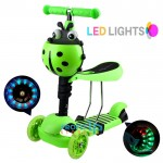 Αναδιπλούμενο Παιδικό Πατίνι με 3 Φωτιζόμενους LED Τροχούς & Φρένο Πράσινο
