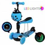 Αναδιπλούμενο Παιδικό Πατίνι με 3 Φωτιζόμενους LED Τροχούς & Φρένο Μπλε