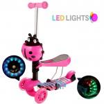 Αναδιπλούμενο Παιδικό Πατίνι με 3 Φωτιζόμενους LED Τροχούς & Φρένο Ροζ