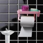 Αυτοκόλλητη Βάση Τουαλέτας για Χαρτί Υγείας - Tissue Box & Toilet Paper Hanger Ροζ