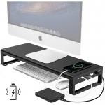 Βάση για Οθόνη Υπολογιστή Η/Υ, 4x USB HUB & Ασύρματος Φορτιστής Fast Charge Vaydeer - Μαύρο Αλουμινίου