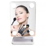 Περιστρεφόμενος Καθρέπτης 360° με 4 LED Αφής Ψυχρού & Θερμού Φωτισμού - Cosmetic Mirror Λευκό OEM