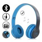 Ασύρματα Ακουστικά Bluetooth με Ενσωματωμένο Μικρόφωνο, FM Radio & Υποδοχή για MicroSD - Wireless BT Over Ear P47, Μπλε