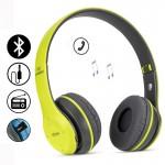 Ασύρματα Ακουστικά Bluetooth με Ενσωματωμένο Μικρόφωνο, FM Radio & Υποδοχή για MicroSD - Wireless BT Over Ear P47, Λαχανί