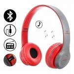Ασύρματα Ακουστικά Bluetooth με Ενσωματωμένο Μικρόφωνο, FM Radio & Υποδοχή για MicroSD - Wireless BT Over Ear P47, Κόκκινα