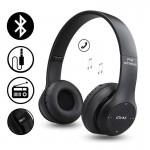 Ασύρματα Ακουστικά Bluetooth με Ενσωματωμένο Μικρόφωνο, FM Radio & Υποδοχή για MicroSD - Wireless BT Over Ear P47, Μαύρα