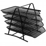 Μεταλλικός Δίσκος Αρχειοθέτησης Εγγράφων με 4 Ράφια & Πλέγμα 53 x 32.5 x 35cm Μαύρο