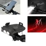 Αδιάβροχη USB Επαναφορτιζόμενη Βάση Κινητού Powerbank, Φως Πορείας, Οπίσθιος Φωτισμός LED & Κόρνα - Φακός LED 400lm Ποδηλάτου - LED Bicycle Horn Lamp Μαύρο