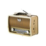Ρετρό Επαναφορτιζόμενο Φορητό Ραδιόφωνο Bluetooth Wireless και MP3 Player - Multimedia Radio Player - Καφέ