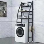 Μεταλλική Ραφιέρα Μπάνιου 3 Επιπέδων για το Πλυντήριο - Toilet Rack Stainless Steel TW-202 Μαύρο