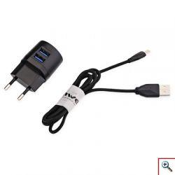 Φορτιστής Ρεύματος Fast Charge με 2 Θύρες USB & Καλώδιο mUSB - 2x USB Charger 2,1A AWEI